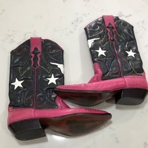 Nine West Pink Black Cowboy Boots Stars & Steer